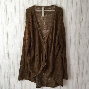 free people • Brown Lace Open Knit Tunic Cardigan